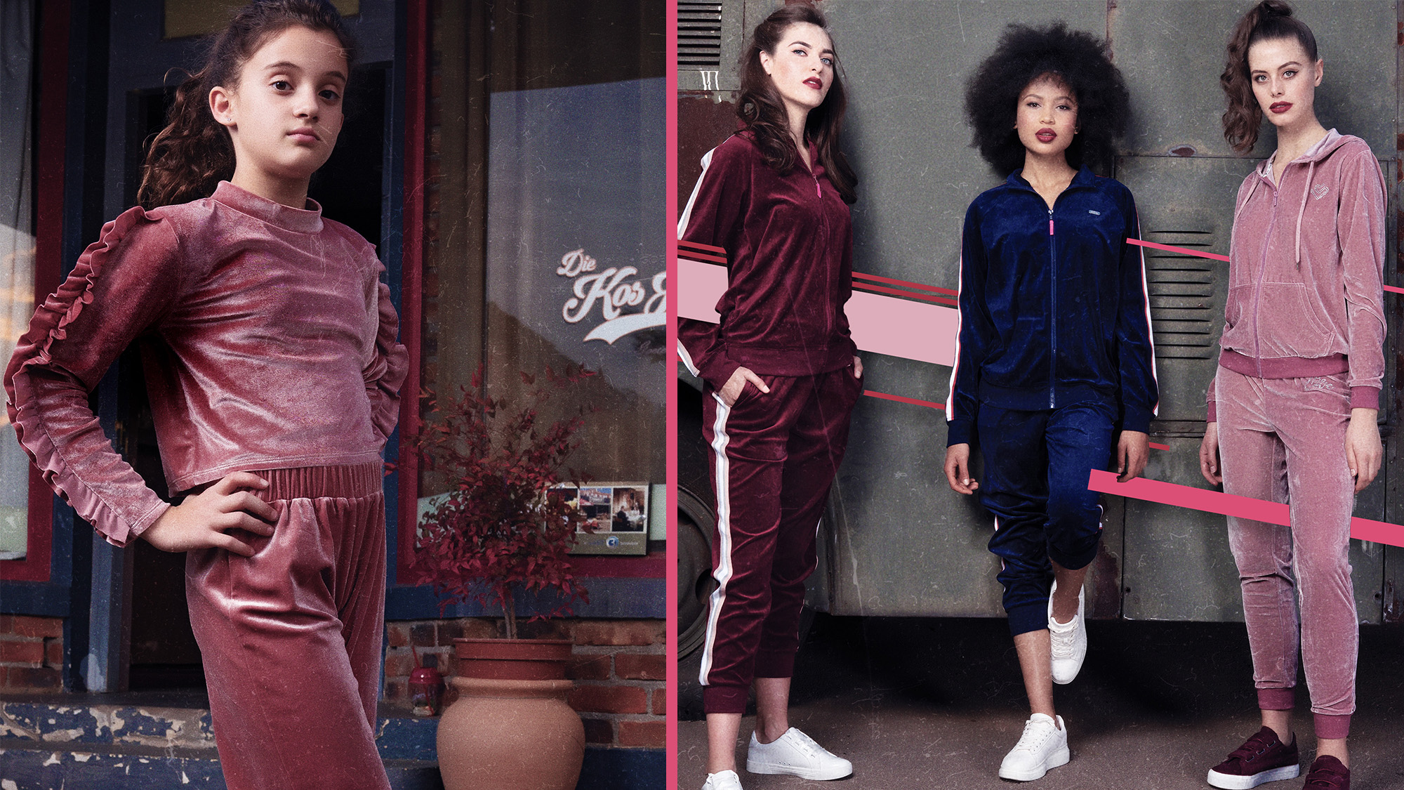 Velour Tracksuit worn by a girl and an adult woman
