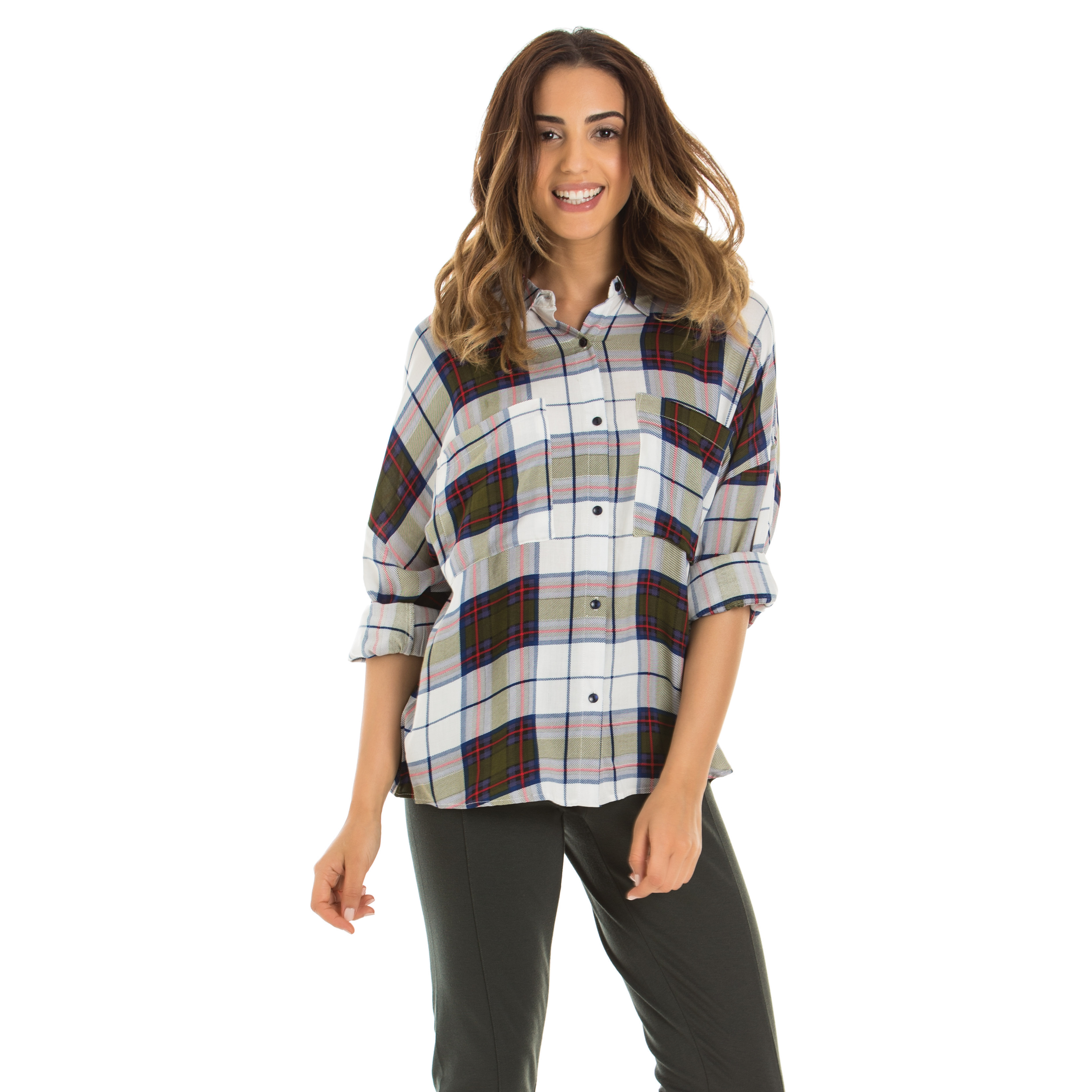 A woman waring a plaid shirt