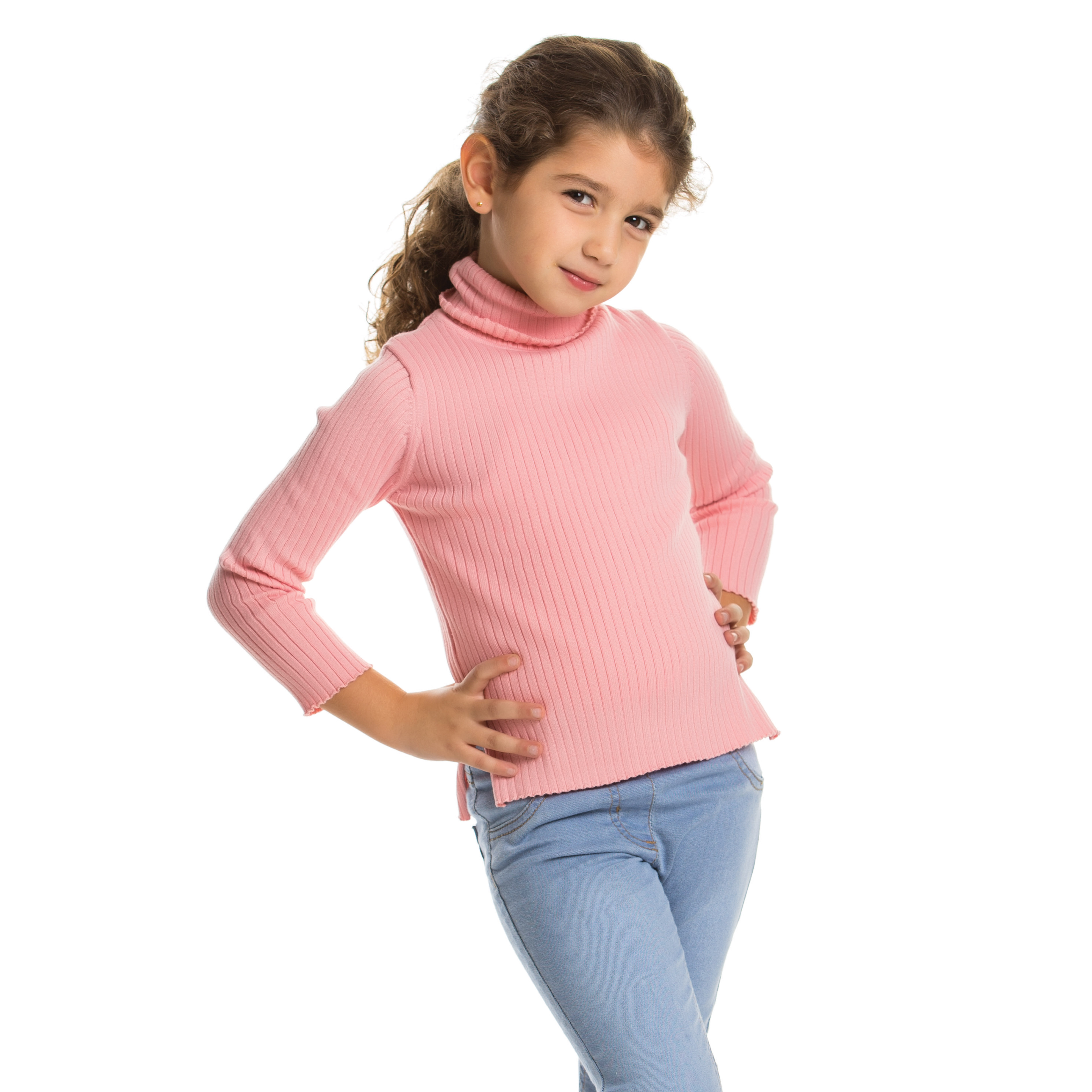 Girl in a pink turtle neck sweater