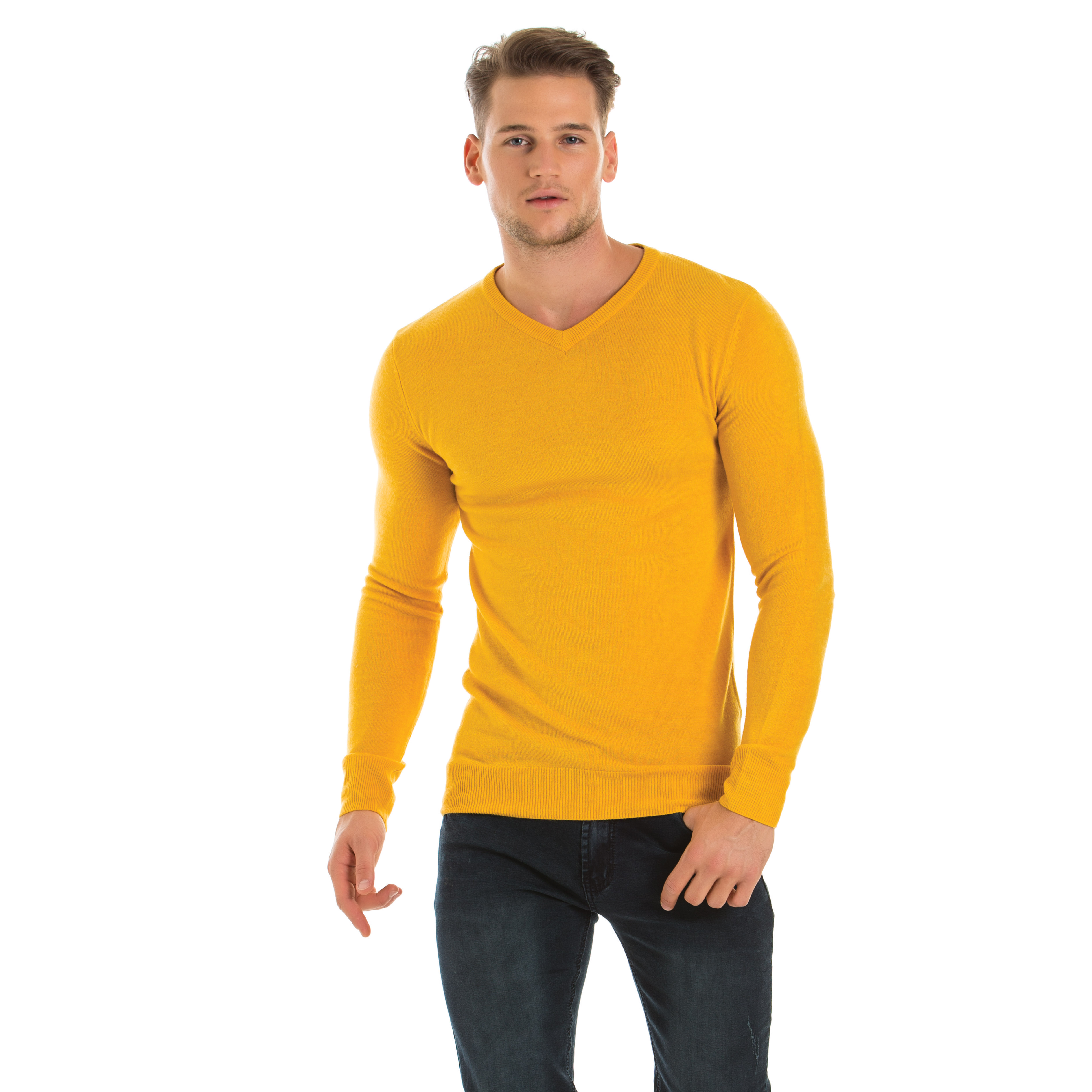 A man wearing a yellow v-neck sweater